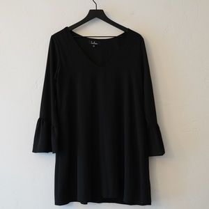 LULU'S LITTLE BLACK DRESS WITH BELL SLEEVES